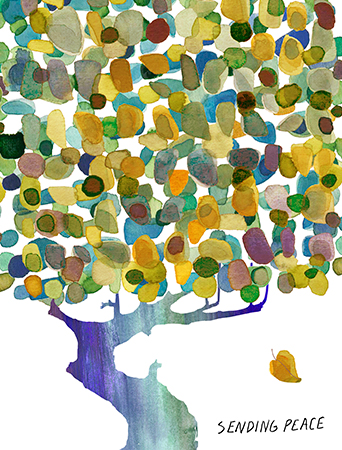 Peaceful Tree - Sympathy watercolor greeting card by Masha D'yans.