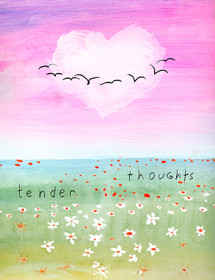 Heart Cloud Landscape - Sympathy and Love watercolor greeting card by Masha D'yans.