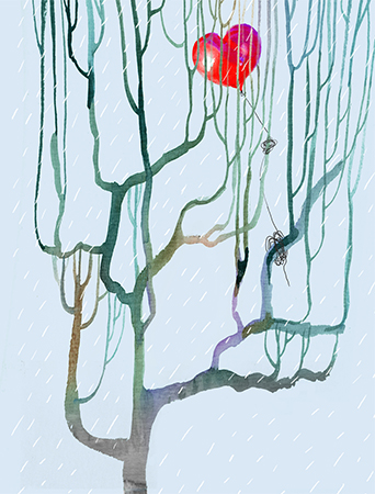 Heart Balloon Tree watercolor greeting card by Masha D'yans
