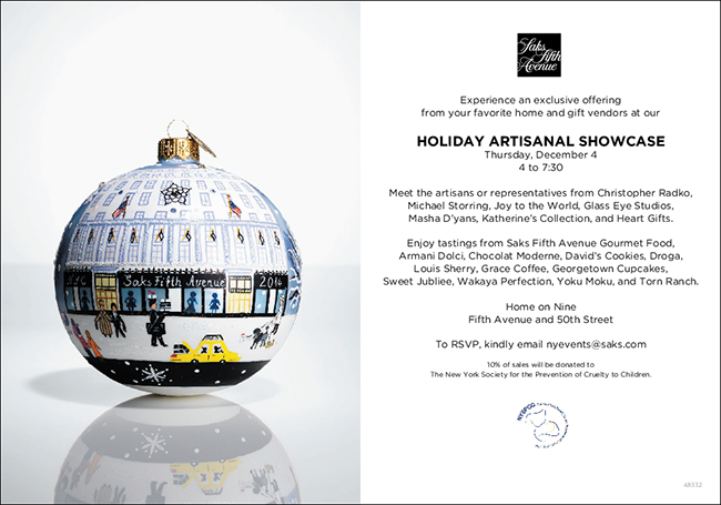 Masha Holiday Events SAKS Home Artisan Event