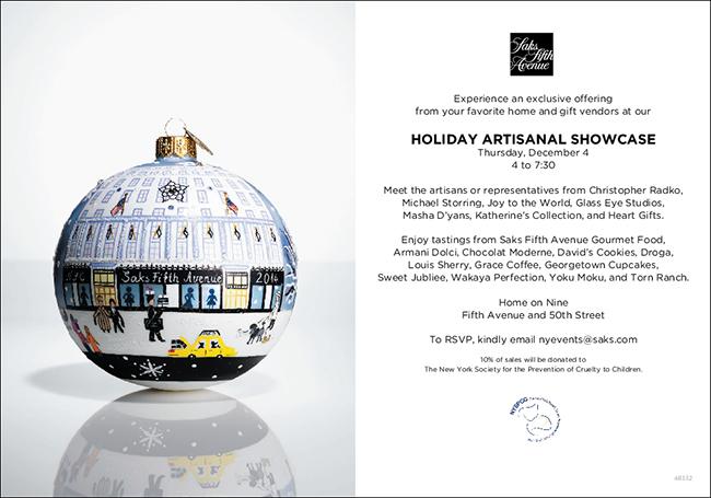 Masha Holiday Events SAKS Home Artisan Event