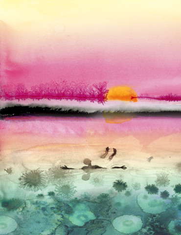 Sunset Soak watercolor greeting card by Masha D'yans