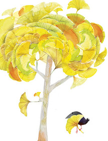 Gingko Tree September Bird watercolor greeting card by Masha D'yans