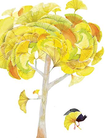 Gingko Tree September Bird watercolor greeting card by Masha D'yans