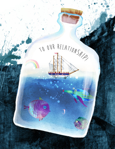 Relation Ship watercolor greeting card by Masha D'yans