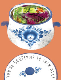SOUPerior watercolor greeting card by Masha D'yans
