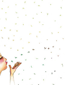T01 blowing thanks masha dyans watercolor greeting card