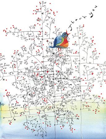 Winter thank songbird on branches with berries watercolor thank you t03 winter thank bird branches berries masha dyans m4hsunfo