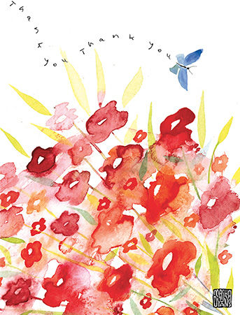 T05 thanks blue butterfly flowers masha dyans watercolor greeting card