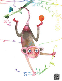T07 monkey branch thanks masha dyans watercolor greeting card
