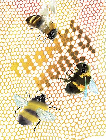 T11 thanks honey bees masha dyans watercolor greeting card