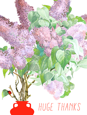 Lilac Bouquet is composed of the freshest, most fragrant blooms of gratitude for your recipient. Reward them with your thanks by presenting the Masha D'yans thank you watercolor and neon card.