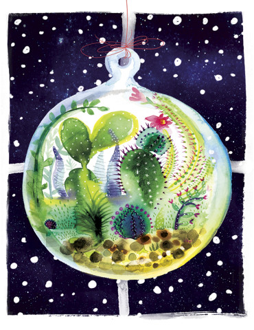 Terrarium Window watercolor greeting card by Masha D'yans