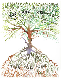 Stronger Tree watercolor greeting card by Masha D'yans