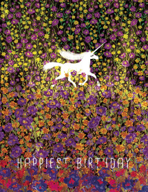 Unicorn Field Bday watercolor greeting card by Masha D'yans