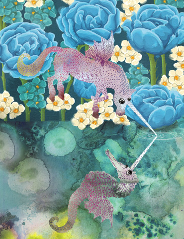 Unicorn Seahorse Reflection watercolor greeting card by Masha D'yans