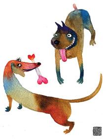 Love bone dogs Masha D'yans watercolor greeting card