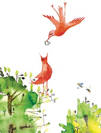 Feed Birds red worm Masha D'yans watercolor greeting card.