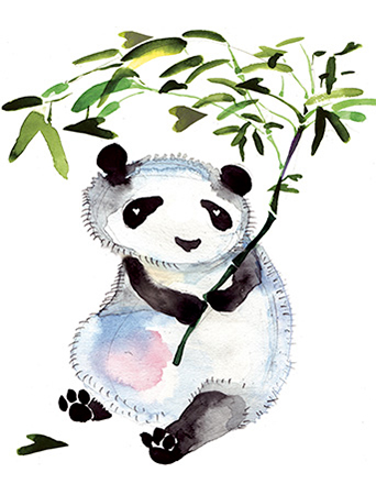 Heart bamboo panda Masha D'yans watercolor greeting card.