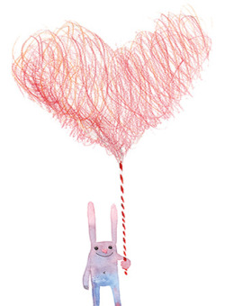 Cotton candy heart holding bunny Masha D'yans watercolor greeting card