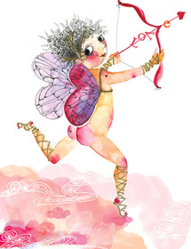Running cherub love cupid arrow Masha Dyans watercolor greeting card
