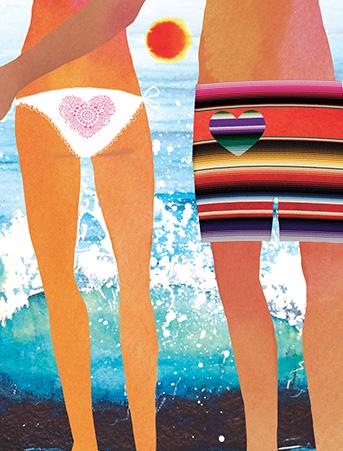 beach bums couple serape masha dyans watercolor greeting card