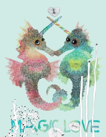 V28 sea unicorns magic love masha dyans watercolor greeting card