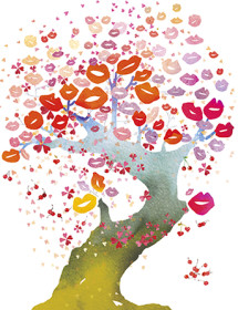Bonsai Kisses tree watercolor masha dyans greeting card