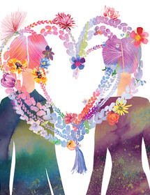 Heart Braids love and all occasion watercolor greeting card by Masha D'yans