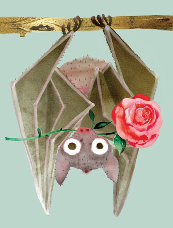 V35 A Rose From Bat watercolor card by masha dyans