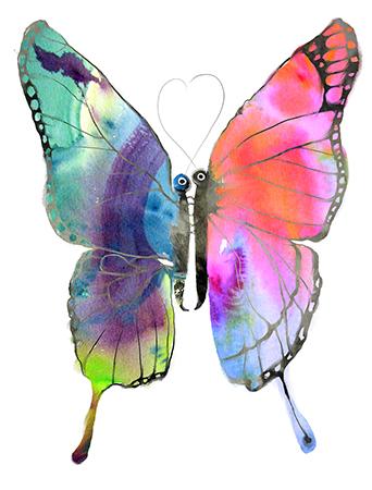 Double Butterfly watercolor card by Masha D'yans