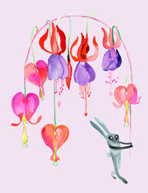 Bleeding Hearts Bunny watercolor greeting card by Masha D'yans