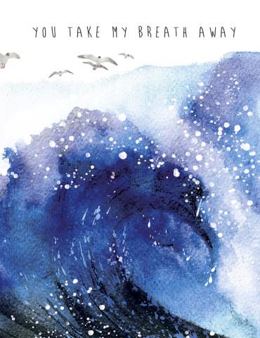 Big Wave watercolor greeting card by Masha D'yans