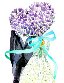 Purple Floral Heart Couple watercolor wedding card by Masha D'yans.
