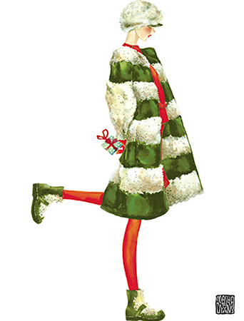 Holiday Gift Girl by Masha D'yans holiday greeting card celebrates Christmas with clever style and perfect charm.