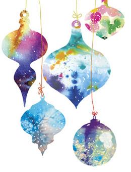 Christmas watercolor ornaments holiday card by Masha D'yans
