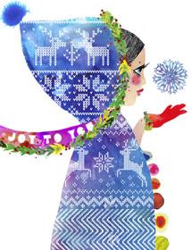 Christmas Hood girl snowflake watercolor greeting card by Masha Dyans
