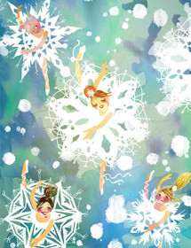 Ballerinas Snowflakes watercolor holiday card by Masha D'yans