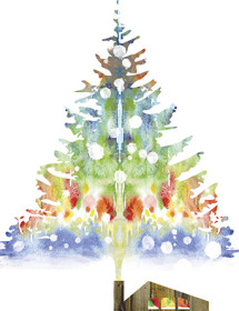 Smoke Christmas Tree watercolor holiday card by Masha D'yans
