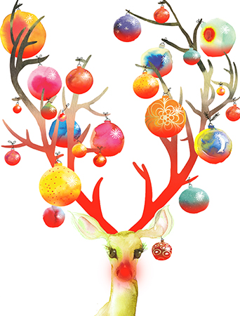 Deck the halls with Ornaments Deer dreamed up by Masha D'yans! Cleverly illuminated by Rudolph's neon red nose this watercolor art card offers a fresh take on the gleam and glitter of the holidays to delight your recipient.