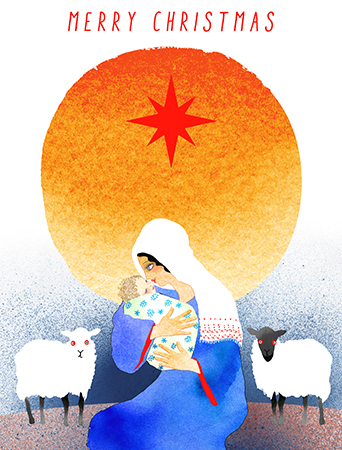 Christmas Child is Masha D'yans' take on the classic nativity scene complete with lovely Mary, star of Bethlehem and a couple of curious farm animals.