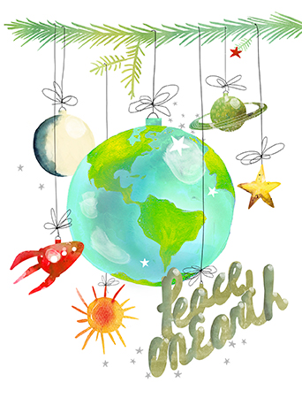 World Peace Ornaments christmas holiday watercolor card by Masha D'yans.