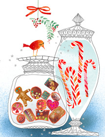 Holiday Candy Jars christmas holiday watercolor card by Masha D'yans.
