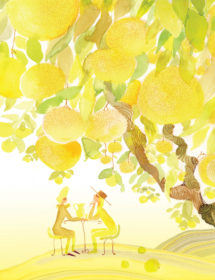 yellowscape citrus trees watercolor masha dyans