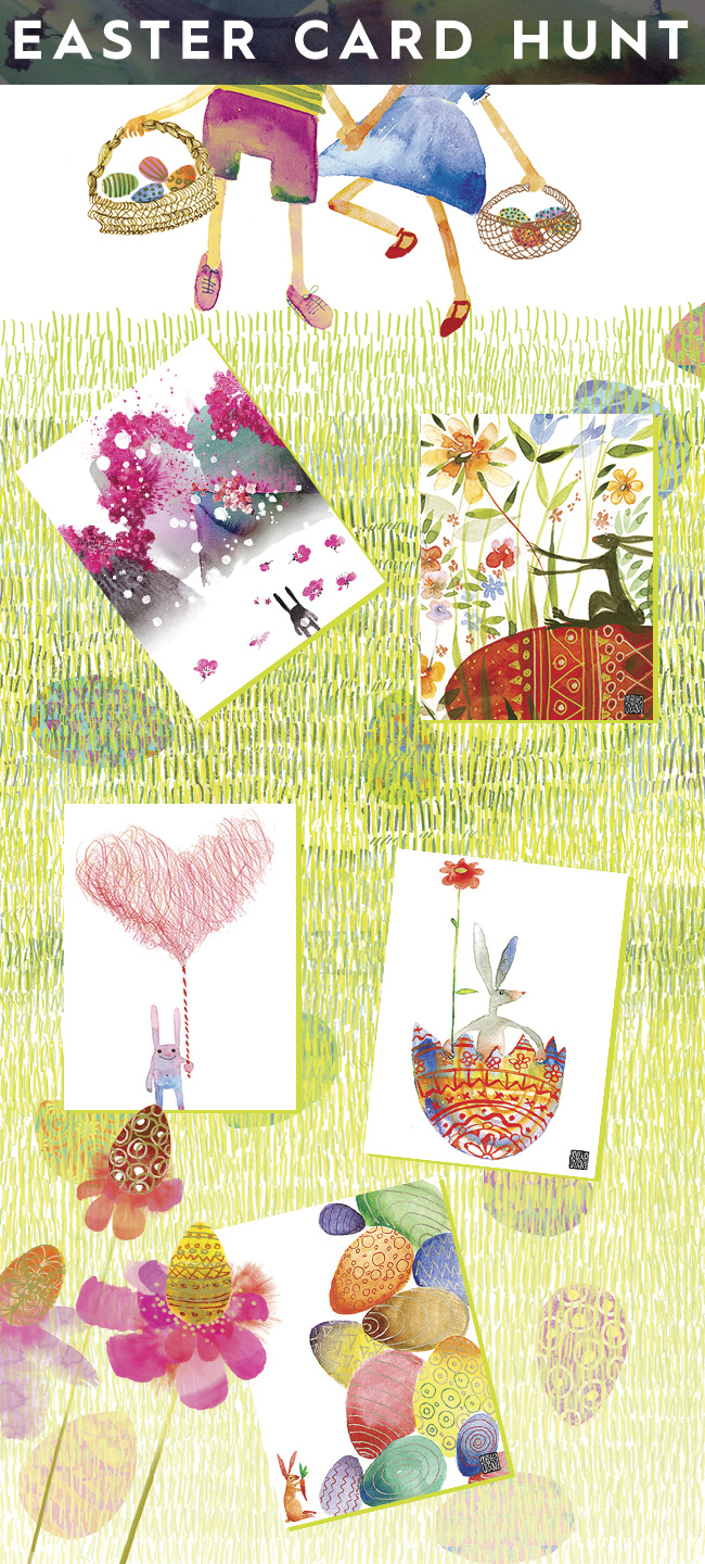 Easter Card Hunt watercolor greeting cards by Masha D'yans