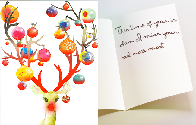 Holiday correspondence writing tips - Deer with red nose, ornaments in antlers. Open card with message on opposite side.