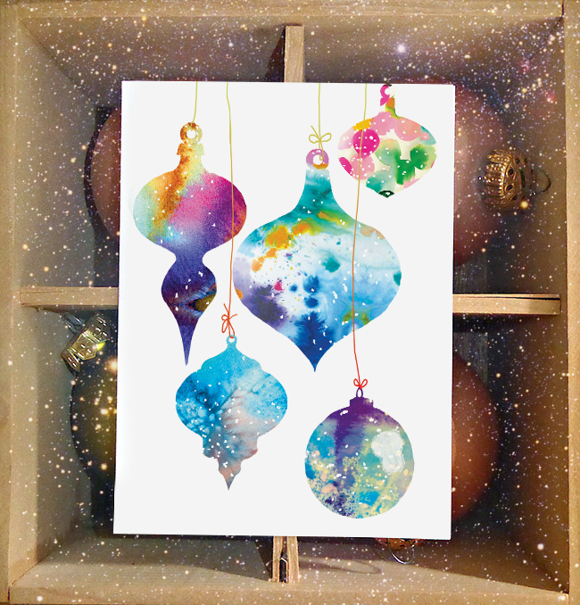 New Holiday Cards! Watercolor Ornaments by Masha D'yans