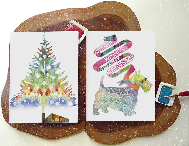 SmokeTree and Scottie holiday cards by Masha D'yans