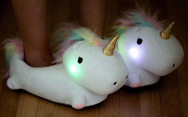 Thanks and Giving light-up unicorn slippers.